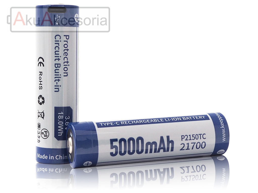 Keeppower 21700 - 5000mAh 3,6V - 3,7V z gdiazdem USB