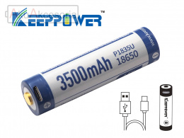 Keeppower 18650 - 3500mAh 3,6 - 3,7V z gniazdem USB
